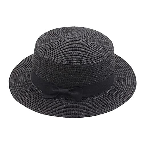Sombrero de Verano para Mujer, Sombrero de Paja para Playa, Gorro para Mujer, Sombreros de Sol con Lazo de ala Plana Informales Hechos a Mano a la Moda para Mujer-Black-Child 50-54cm
