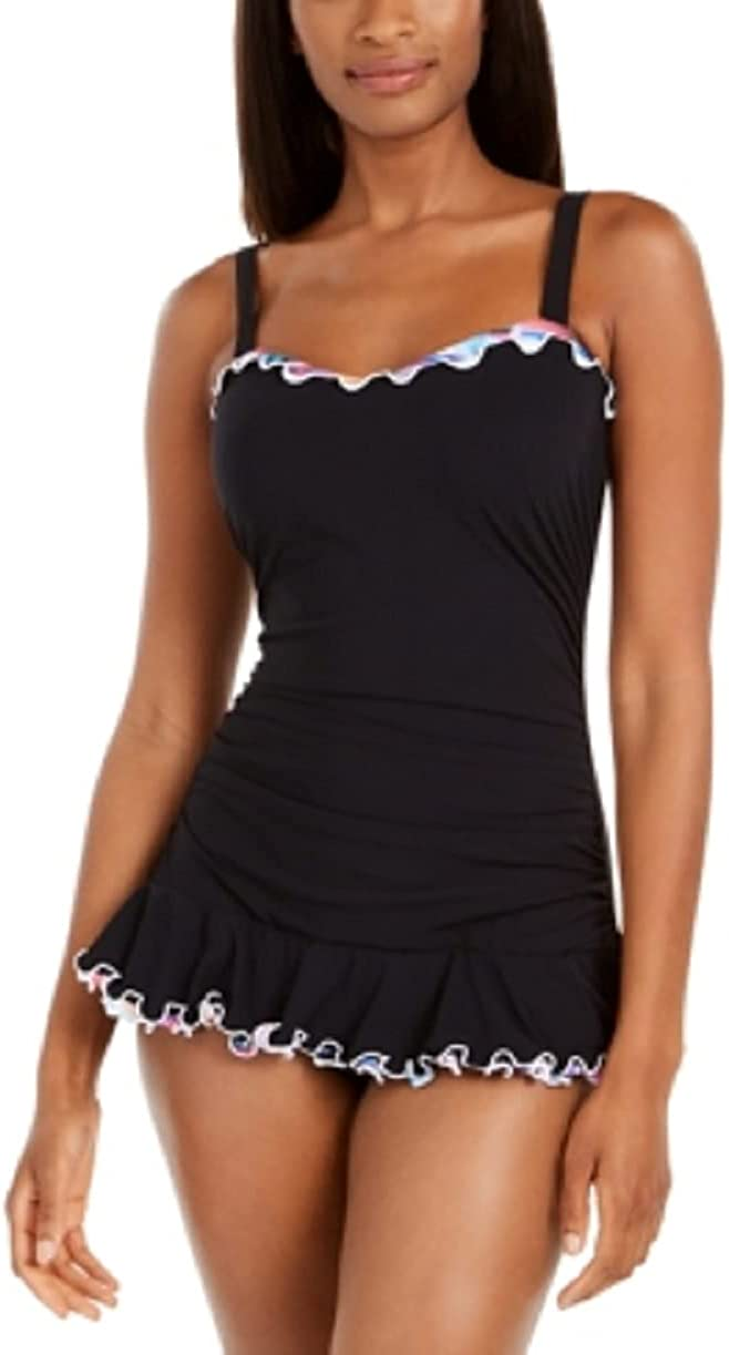 Profile by Gottex Black Tricolore Ruffled Underwire Swimdress, US 10D, UK 10D
