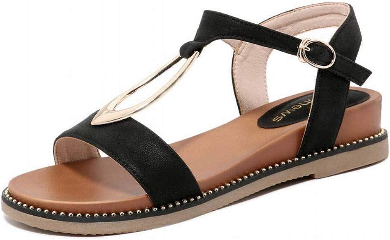 LTN Ltd - sandals Keil Sandalen Frauen Sommer Student Strand Schuhe Damenschuhe, Schwarz, 36