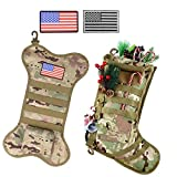 Yadier Tactical Christmas Stocking 2Pack Camo with Molle Gear, USMC Cane Webbing with USA Flag Patch Personalized Giant Christmas Stockings Gift for Men (2Pack Tactical Christmas Stocking)