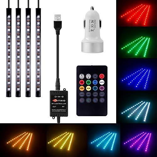 DITRIO® 4x12LED Innenbeleuchtung Auto Lichtleiste mehrfarbliche LED Streifen mit Fernbedienung und KFZ Ladegerät DC 10-15V