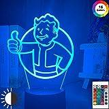 Lámpara de luz de noche LED 3D Juego Fallout Shelter Logo Luz de noche LED para niños Decoración de dormitorio infantil Lámpara de mesa USB colorida-Color1_16_Color_With_Remote
