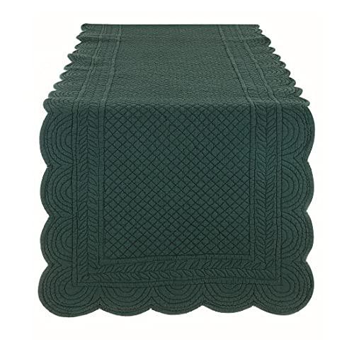 BLANC MARICLO' Camino de mesa rectangular de algodón verde 45 x 140 cm