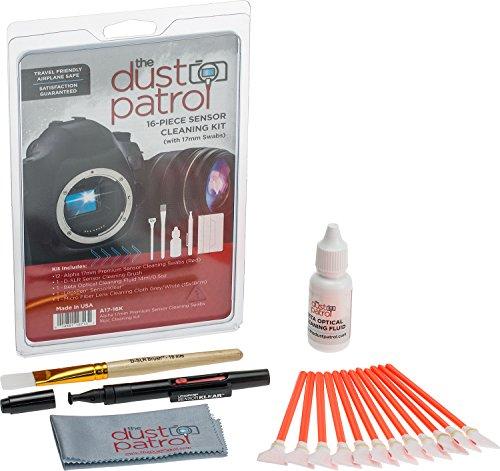The Dust Patrol Alpha 17mm Premium Sensorreinigungs-Swabs 16-teiliges Kit (Rot) mit Beta optischer Reinigungsflüssigkeit 14ml. Für Kameras mit APS-C Sensoren - die gängigste Größe