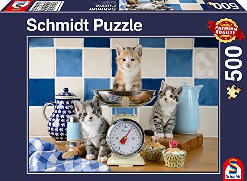 Schmidt Spiele 58370 Puzzle de Cuisine 500 pièces Motif Chats Multicolore