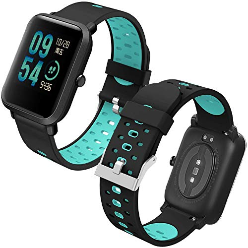 Th-some Cinturino per Amazfit Bip Braccialetto di Ricambio,Cinturino Cinturini di Ricambio Silicone Xiaomi Huami Amazfit Bip bit Lite Youth/Amazfit GTR 42mm Watch(Nero e blu)