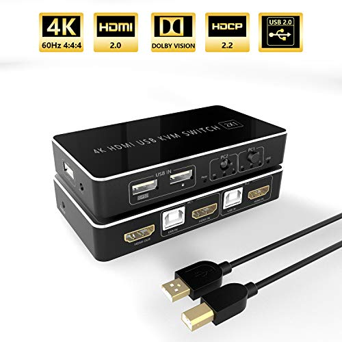 HDMI KVM Switch, USB 2 Ports PC Computer KVM Umschalter Tastatur und Maus teilen Unterstützung 4Kx2K @ 60Hz 3D für Laptop, PC, PS4, Xbox HDTV - Mit 2 USB Kabeln, 1 Switch Kabel