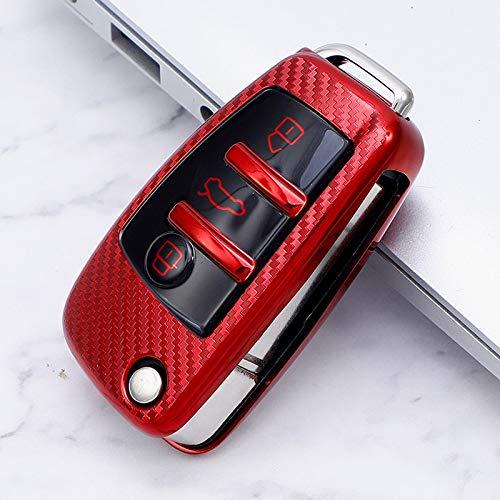 SDLWDQX Carcasa completa para llave de coche, compatible con Audi C6 A7 A8 R8 A1 A3 A4 A5 Q7 A6 C5 accesorios para coche, A, rojo