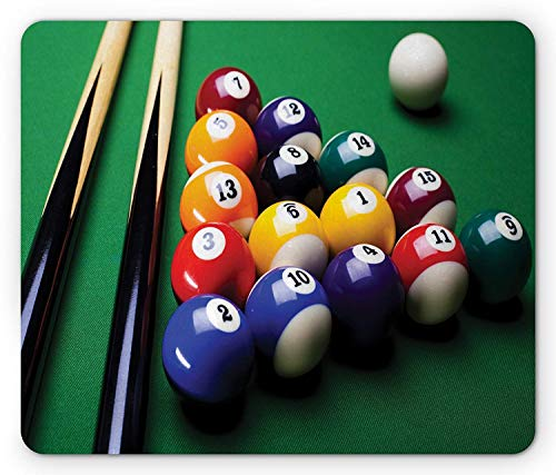 Drempad Gaming Mauspads, Manly Mouse Pad, Billiard Pool Balls Arrangement Snooker Contest Beginning Entertainment Game Print, Standard Size Rectangle Non-Slip Rubber Mousepad, Multicolor
