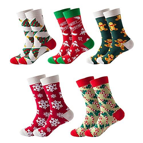NJZYB 5 paia di strada femminile moda moda calze alla moda calze casual calze unisex calzini di Natale albero colorato regalo di Natale del fumetto dei cartoni animati (Color : A, Size : One size)