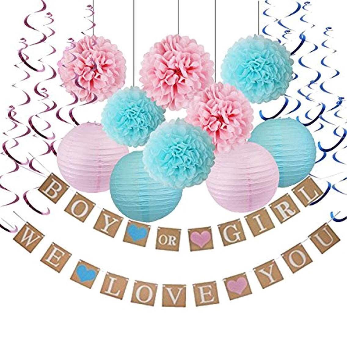 Gender Reveal Decorations Baby Shower Decorations with Boy or Girl Banner Tissue Pom Poms Paper Lanterns Foil Hanging Swirl Decorations Baby