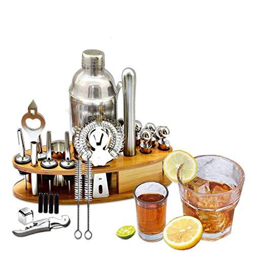 NXYJD Coctel Shaker Bar Set Cocktail Making Kit con Estante De Madera Acero Inoxidable Bartender Tools Bar Mezter Maker Barware