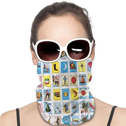 Colorida Loteria Mexicana a prueba de viento Escudo de la Cara Multiusos para la cabeza, Bandana, Pasamontañas para el cuello