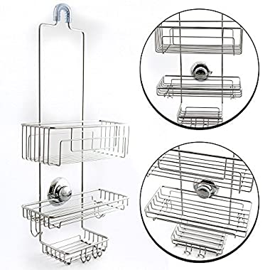 Gecko-Loc Over the Shower Head Long Tall Shower Caddy Organizer with Super Suction Cup & Shower Head Hanger - Stainless Steel Rustproof