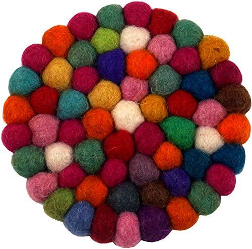 Guru-Shop Filz Untersetzer, Rund - Bunt Ø 10 cm, Mehrfarbig, Untersetzer, Tabletts