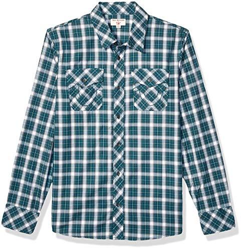 True Religion Herren LS Utility Woven Shirt Button Down Hemd, Fraser, Klein