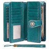 SENDEFN Wallets for Women Genuine Leather Credit Card Holder with RFID Blocking Large Capacity Wristlet, Blue