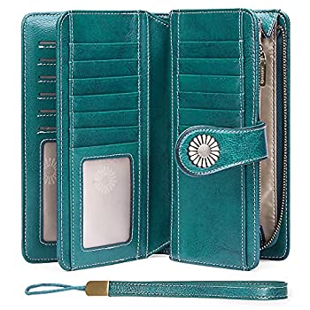 SENDEFN Wallets for Women Genuine Leather Credit Card Holder with RFID Blocking Large Capacity Wristlet