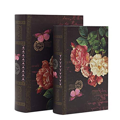 Risinginto Caja de almacenamiento decorativa en forma de libro para decoración del hogar, regalos, chocolates, recuerdos, 2 piezas,...