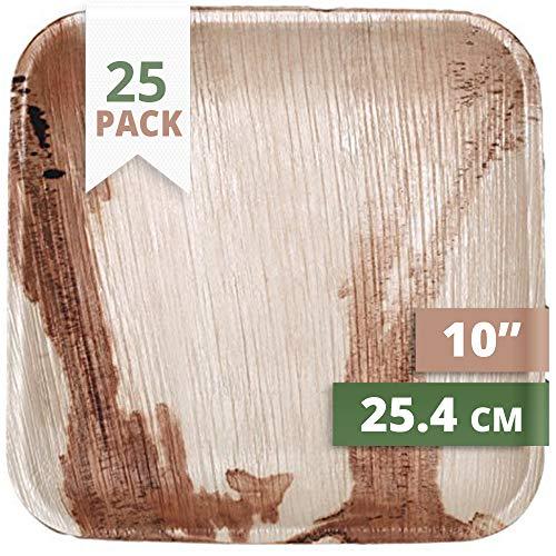 25 cm Carré Assiette en Feuille de Palmier (Pack of 25)