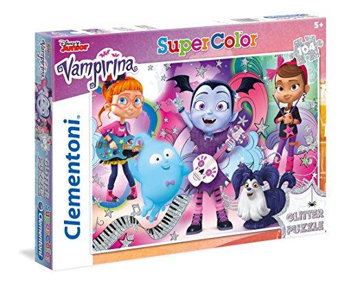 Clementoni-Clementoni-27088-Glitter Puzzle Vampirina-104 pièces Vampirina Clementoni-27088-Supercolor Puzzle-Vampirina-104 Pezzi-Disney, Multicolore, 27088