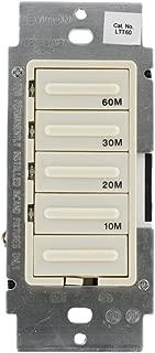 Leviton LTT60-1LT Decora 600W Incandescent/5A Resistive 10-20-30-60 Minute Preset Countdown Timer, Single Pole, Light Almond
