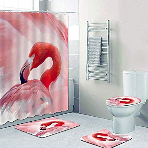 AETTP 4Pcs Flamingo Photo Duschvorhang Set für Bad Vorhang 3D Tropical Animal Plant Bad Gardinen Mats Teppiche Toilette Home Decor 180x180cm
