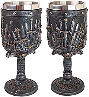 Design Toscano CL97423 Lord of the Swords Gothic Goblet, Set of 2, 8.5 Inches, greystone
