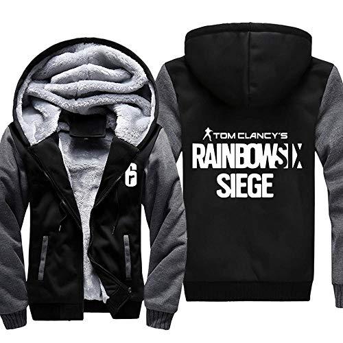 Herren Kapuzenpullover Spiel Rainbow SIX Siege Sweater Plus Dicke Samt Jacken Warme Tops Zipper Hoodies 2-M