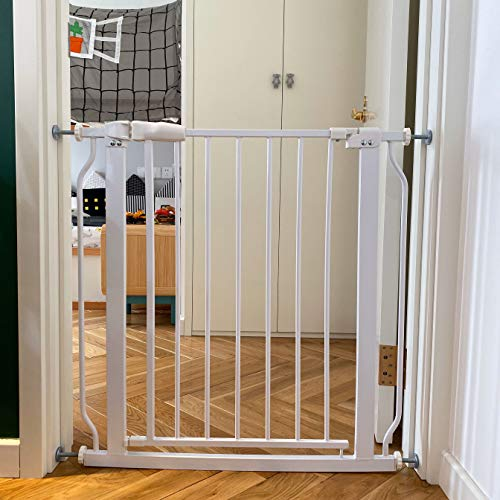 BalanceFrom Easy Walk-Thru Safety Gate for Doorways and Stairways with Auto-Close/Hold-Open Features, Multiple Sizes, White