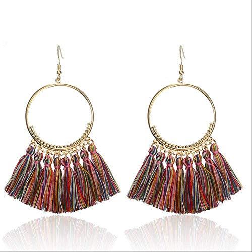Oorspelden Etnische BohemenKwastje met franjeOorbellen voor vrouwen Gouden cirkel Hangers Oorbellen Hangers Sieradene0101D