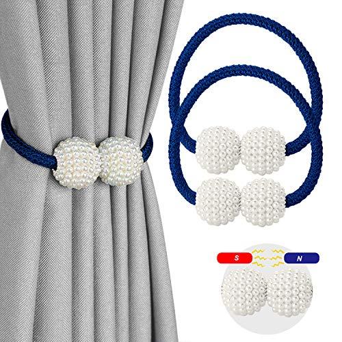 CUKCIC Magnetische Vorhang Raffhalter Perle Kugel-Style Vorhang Binder Vorhang Seil Holdback Vorhang Halter Schnallen (Navyblau, 2)