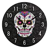 Domoko Decoración del hogar México Cráneo de Azúcar Negro Redondo de Acrílico Reloj de Pared No Ticking Silencioso Reloj Arte para Sala