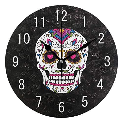Domoko Home Decor Mexicano Azúcar cráneo negro redondo acrílico reloj de pared no hacer clic silencioso reloj arte para sala de estar cocina dormitorio