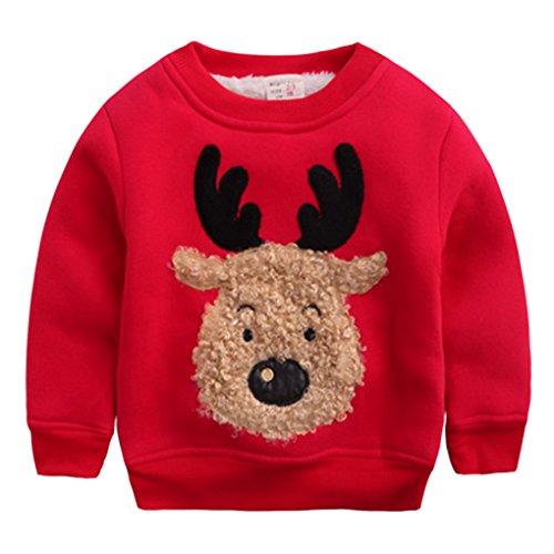 Happy Cherry - Ropa Sudadera de Niños Bebés para Invierno Chandal Camiseta Navidad Dibujo de Reno Suéter Grueso Caliente con Terciopelo - Rojo - Talla ES 12-18 Meses