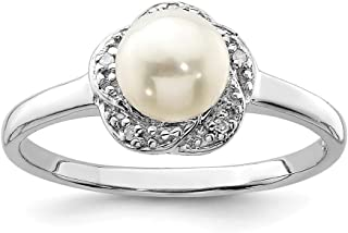 925 Sterling Silver 6mm Freshwater Cultured Button Pearl Diamond Band Ring Fine Jewelry For Women Gift Set