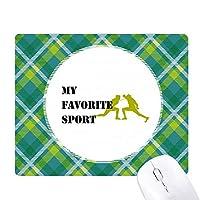 バランス・フェンシング 緑の格子のピクセルゴムのマウスパッド