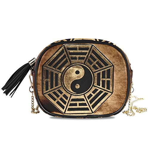 XiangHeFu Vintage Yin Yang Gossip Phone Bag Monedero de cuero Tarjetero Tarjetero Monedero de gran capacidad