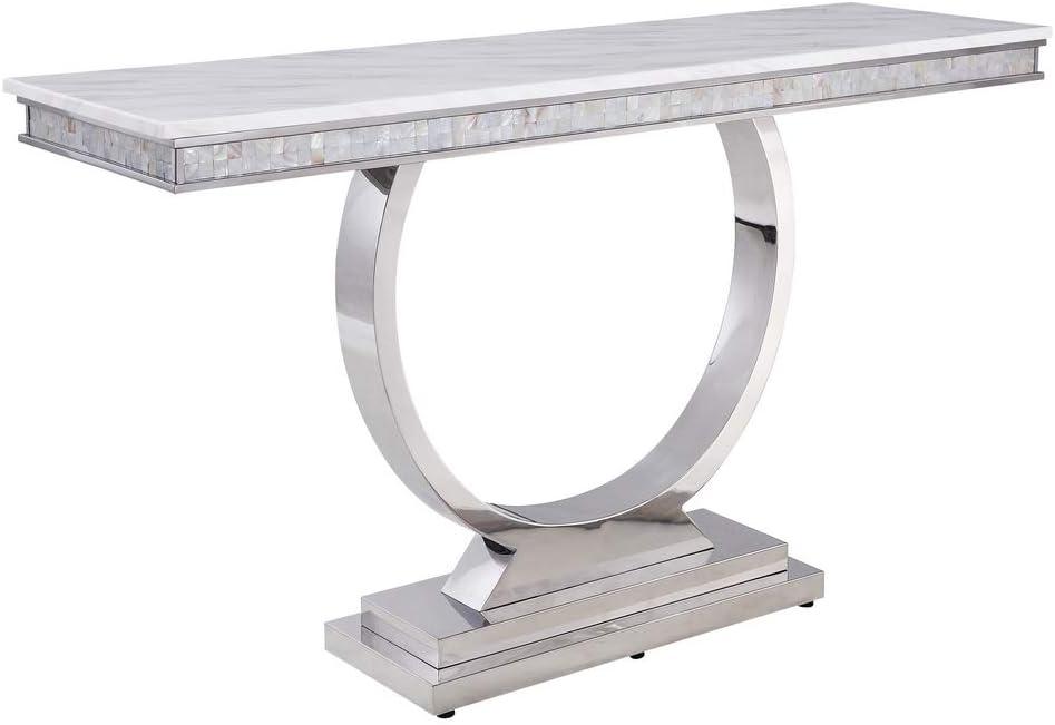 Acme Furniture Bargain sale Zander Sofa Table White Printed Max 86% OFF Marble Mi Faux