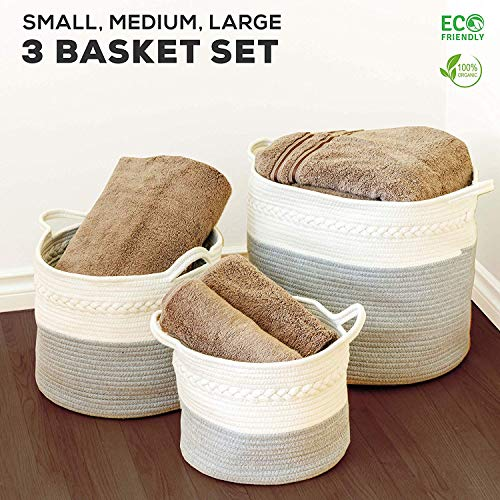 3 Pack Woven Rope Basket Set  Small Medium amp Large Organic Woven White amp Gray Cotton Rope Baskets Durable Materials with Soft Rope Handles Great for Laundry Toys Towels Bedding amp Nurseries