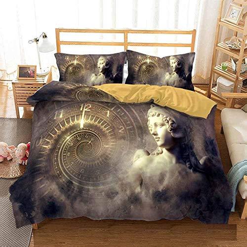 Bedclothes-Blanket Funda nórdica Funda de Colcha,Cama 3D Single Ropa de Cama Edredón Set Reloj de Tres piezas-220 * 230_12