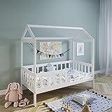 Hausbett Kinderbett 80x160 cm mit Rausfallschutz & Lattenrost weiß 160 x 80 für Mädchen und Jungen Massivholz Kiefer