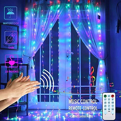 DOOK Lichtsnoer, met 300 leds, 3 m x 3 m, 4 muziekmodi, 8 verlichtingsmodi, lage spanning, decoratie voor ramen, Kerstmis, bruiloft, verjaardag, huis, patio, waterdicht, IP64