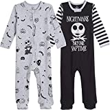 Disney Nightmare Before Christmas Jack Skellington Baby Boys 2 Pack Footed Coveralls 12 Months...