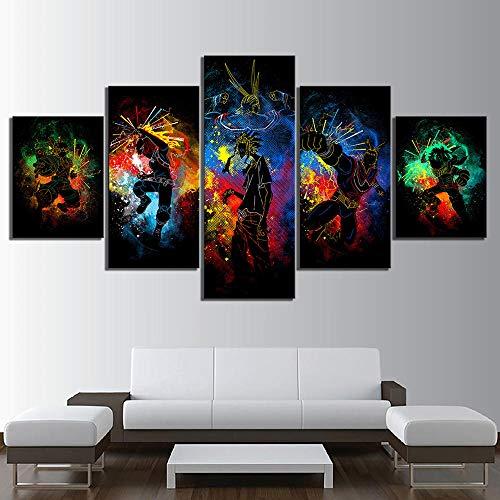 5 peças de arte em tela de parede modular, moldura para quarto, decoração de casa, 5 peças, imagens de desenho animado HD My Hero Academia, pôster de anime Boku No Hero Academia, quadros de tela para decoração de parede DDZZYY