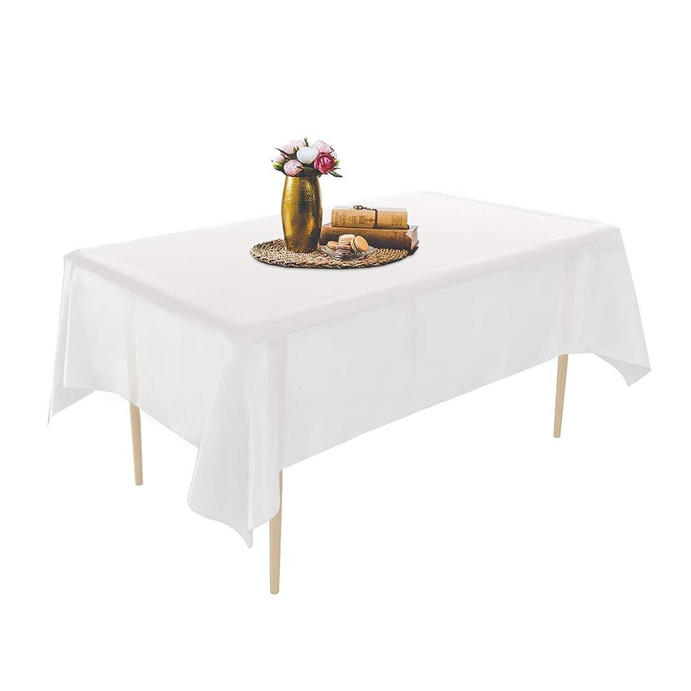 半ば動くハンバーガーPuricon テーブルクロス 使い捨て 6枚 137 x 274cm テーブルマット デスクマット テーブルクロス 長方形 パーティー 家族イベントなど用 -ホワイト