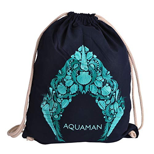 AQUAMAN Elbenwald Sportbag mit großem maritimen Logo Symbol Frontprint 46 x 36 cm blau