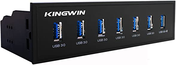 "Kingwin Front Panel USB 3.0 Hub 7 Port Include One Fast Charging USB 2.1A Charging Port. For PC, USB Flash Drives, Transfer Speed up to 5 Gbps, Fits any 5.25"" Computer Case Front Bay"
