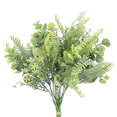 HUAESIN Ramo de Plantas Artificiales Exterior, Rama de Helecho Plastico con Hoja de Eucalipto Artifiical Verde Ramo de Flores Mix para Jardín Jardinera Casa Boda Hogar Interior Habitacion Decoración