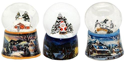 20007 3 süße Mini-Schneekugeln Winter und Weihnacht, Durchmesser 45mm
